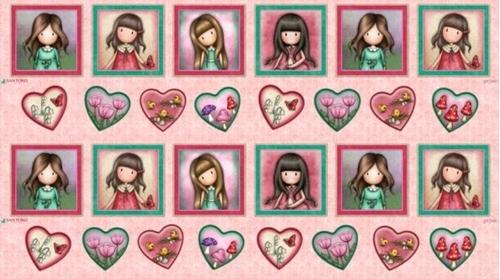 Truly Gorjuss Framed Girls and Hearts Santoro 24x44 Cotton Fabric Panel