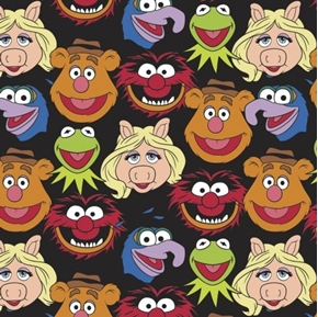 The Muppet Collection Sesame Street Muppet Cast Black Cotton Fabric