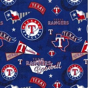 MLB Baseball Texas Rangers Vintage 2018 Blue Cotton Fabric