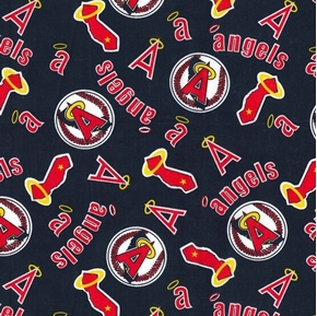 MLB Baseball Los Angeles Angels Cooperstown 2018 Blue Cotton Fabric