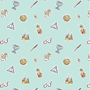 Wizarding World of Harry Potter Watercolor Elements Aqua Cotton Fabric