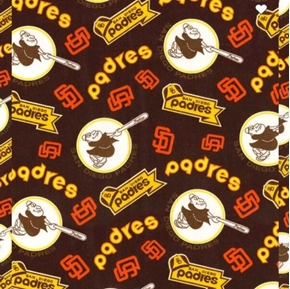 MLB Baseball San Diego Padres Cooperstown 2018 Brown Cotton Fabric