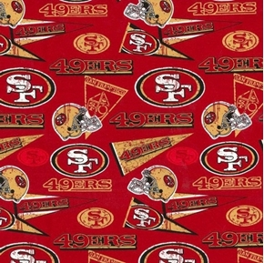 NFL Football San Francisco 49ers Retro 2019 Red Cotton Fabric