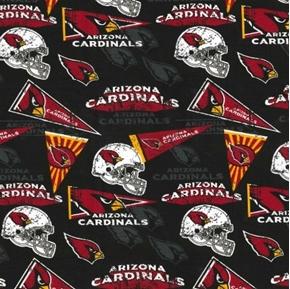 NFL Football Arizona Cardinals Retro 2019 Black Cotton Fabric