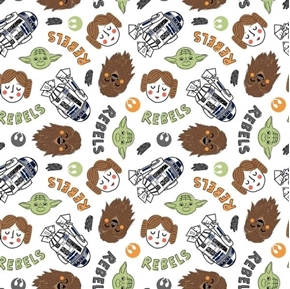 Star Wars Become A Rebel Chewbacca Yoda Leia R2-D2 Cotton Fabric