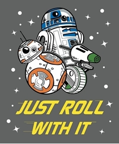 Star Wars IX Just Roll with It R2-D2 BB-8 Large Cotton Fabric Panel