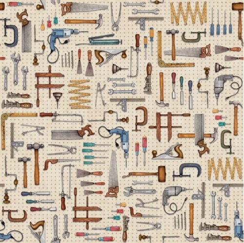 A Little Handy Tool Pegboard Toss Workshop Tools Tan Cotton Fabric