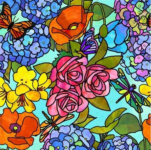 Stained Glass Garden Floral Flowers Butterflies Colorful Cotton Fabric