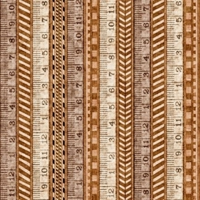 A Little Handy Tape Measure Rulers Carpenter Tool Tan Cotton Fabric