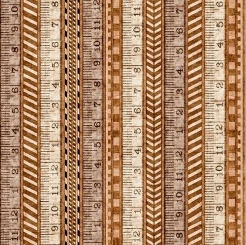 A Little Handy Tape Measure Rulers Carpenter Tool Tan Cotton Fabric