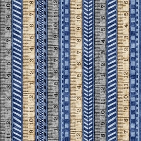 A Little Handy Tape Measure Rulers Carpenter Tool Blue Cotton Fabric