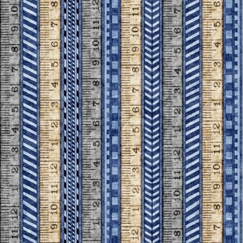 A Little Handy Tape Measure Rulers Carpenter Tool Blue Cotton Fabric
