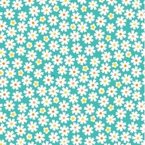 Tiger Tales Daisies Daisy Flowers Aqua Cotton Fabric