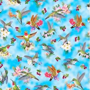 Hummingbird Garden Hummingbirds and Flowers Sky Blue Cotton Fabric