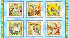 Hummingbird Garden Picture Patches Bird 24x44 Cotton Fabric Panel