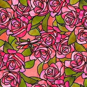 Stained Glass Garden Roses Pink Rose Flowers Dragonflies Cotton Fabric