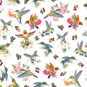 Hummingbird Garden Hummingbirds and Flowers White Cotton Fabric