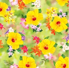 Hummingbird Garden Floral Toss Hibiscus Flowers Orchids Cotton Fabric