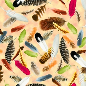 Hummingbird Garden Feathers Colorful Bird Feather Tan Cotton Fabric
