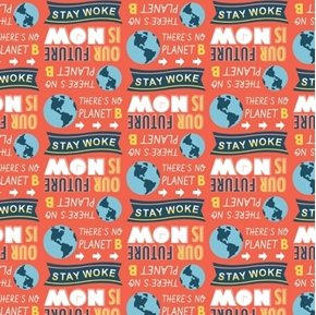 Stronger Together Stay Woke Earth Environmental Activism Cotton Fabric