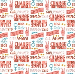 Stronger Together Girls Unite Activism Gender Equality Cotton Fabric
