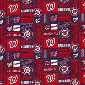 MLB Baseball Washington Nationals Block Pattern 2020 Red Cotton Fabric