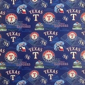 MLB Baseball Texas Rangers Stadium History 2019 Blue Cotton Fabric