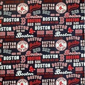 MLB Baseball Boston Red Sox 2020 Words Logos Navy Blue Cotton Fabric