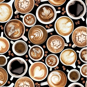 Fresh Brewed Coffee Cups Barista Designs and Beans Black Cotton Fabric