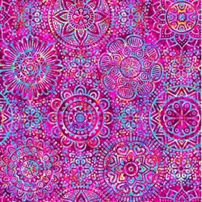 Zanzibar Mandalas Colorful Magenta Mandala Blender Cotton Fabric