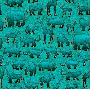 Serengeti Jungle Animals Silhouettes Turquoise with Gold Cotton Fabric