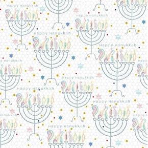 Happy Hanukkah Menorahs Menorah and Stars White Cotton Fabric