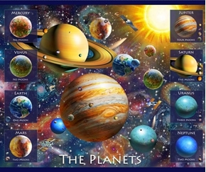 Artworks XVIII Planets Solar System Teaching Tool Cotton Fabric Panel