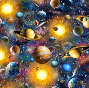 Artworks XVIII Planets Solar System Galaxy Digital Cotton Fabric