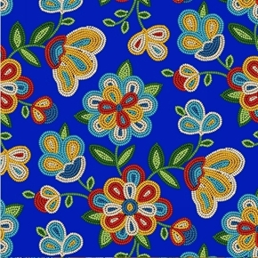 Tucson Southwest Beaded Flowers Beading Royal Blue Cotton Fabric