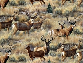 Mule Deer in Sage Wild Bucks and Does on the Grass Cotton Fabric
