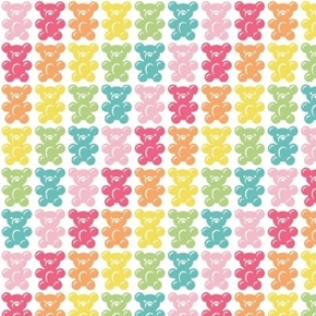 Be the Rainbow Gummy Bear Candy in Colors Gummy Bears Cotton Fabric