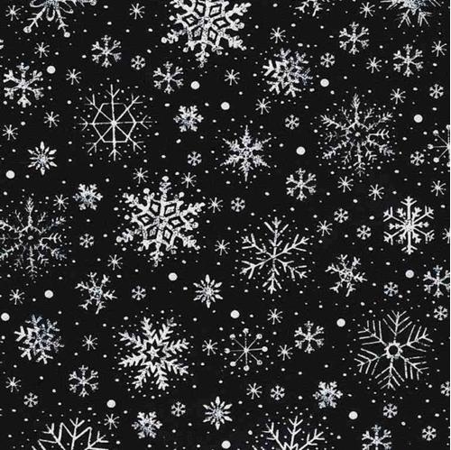 Chalk Snowflakes Holiday White Winter Snow on Black Cotton Fabric