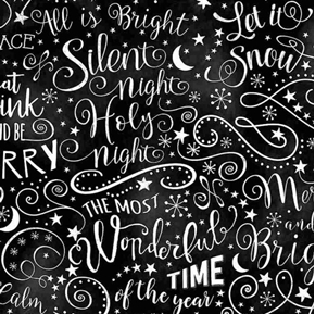 Chalkboard Holiday Words Silent Night Let it Snow Black Cotton Fabric