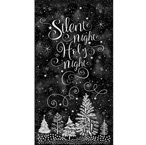 Silent Night Holiday Chalkboard Black 24x44 Cotton Fabric Panel