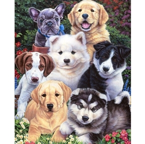 Precious Puppies Husky Retriever Samoyed Digital Cotton Fabric Panel
