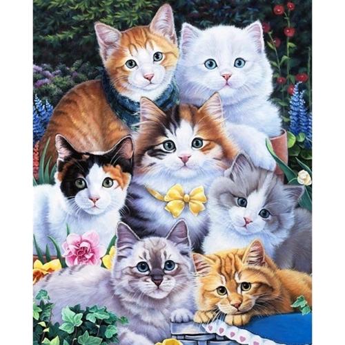 Kitten Collage Calico Tabby Ragdoll Cat Digital Cotton Fabric Panel