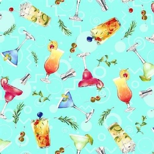 Greetings From… Tropical Cocktails Margarita Mojito Aqua Cotton Fabric