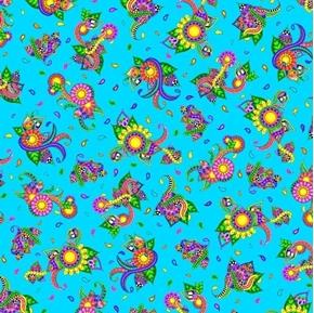 Alpha Doodle Floral Paisley Geometric Design Turquoise Cotton Fabric