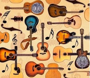 Lil' Bit Country Guitars Acoustic Guitar Tan Music Cotton Fabric