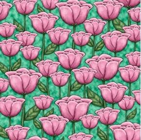 Truly Gorjuss Tulips Santoro Tulip Flower Mint Green Cotton Fabric