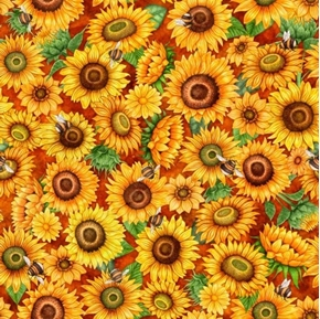 Always Face The Sunshine Packed Sunflowers Bees on Rust Cotton Fabric