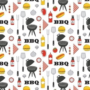 Grill Master BBQ Grilling Food Utensils Burgers Hotdogs Cotton Fabric