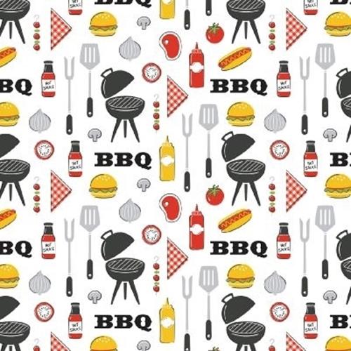 Grill Master BBQ Grilling Food Utensils Burgers Hotdogs Cotton Fabric