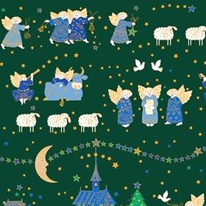 Holiday Minis Nativity Christmas Angels Sheep Green Cotton Fabric